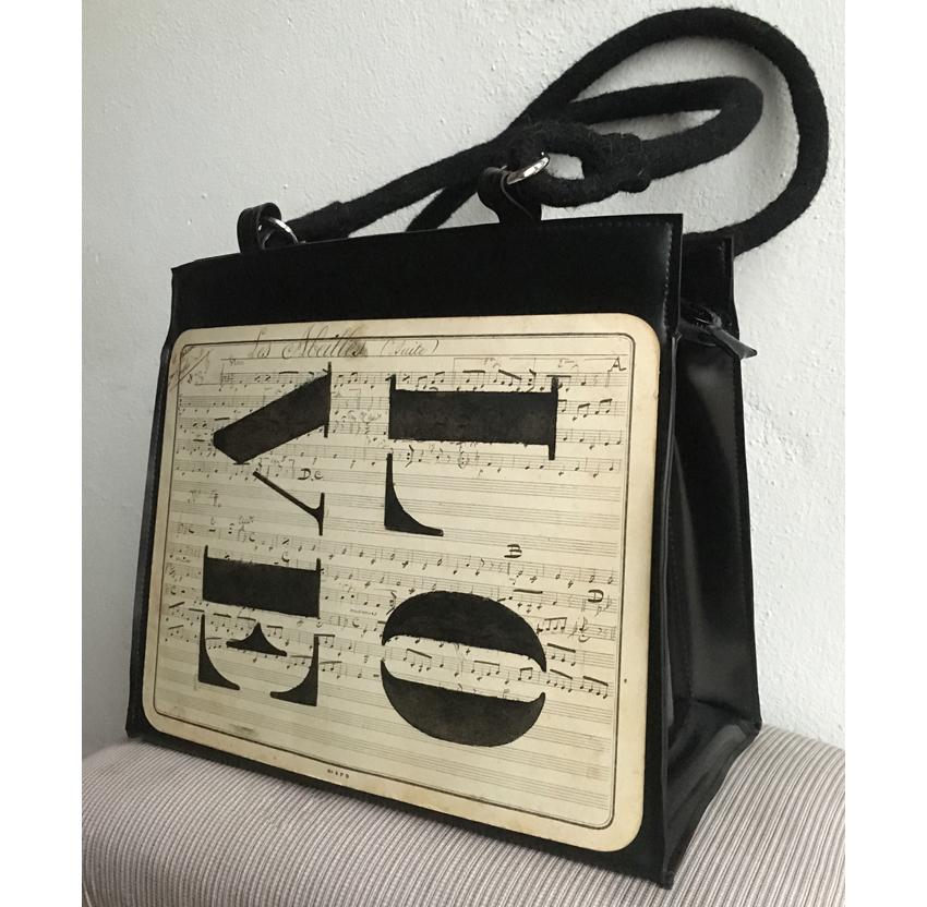 """Handtasche aus Latex, """"Music 1/15"""""""