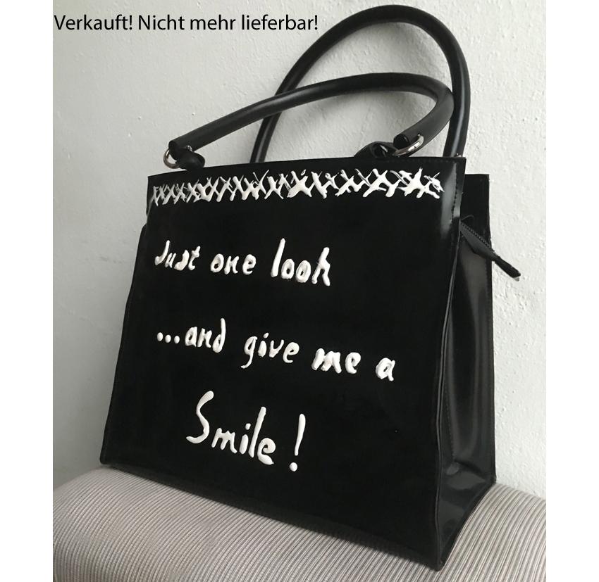 """Handtasche aus Latex, """"Words 1/25"""" *VERKAUFT*"""