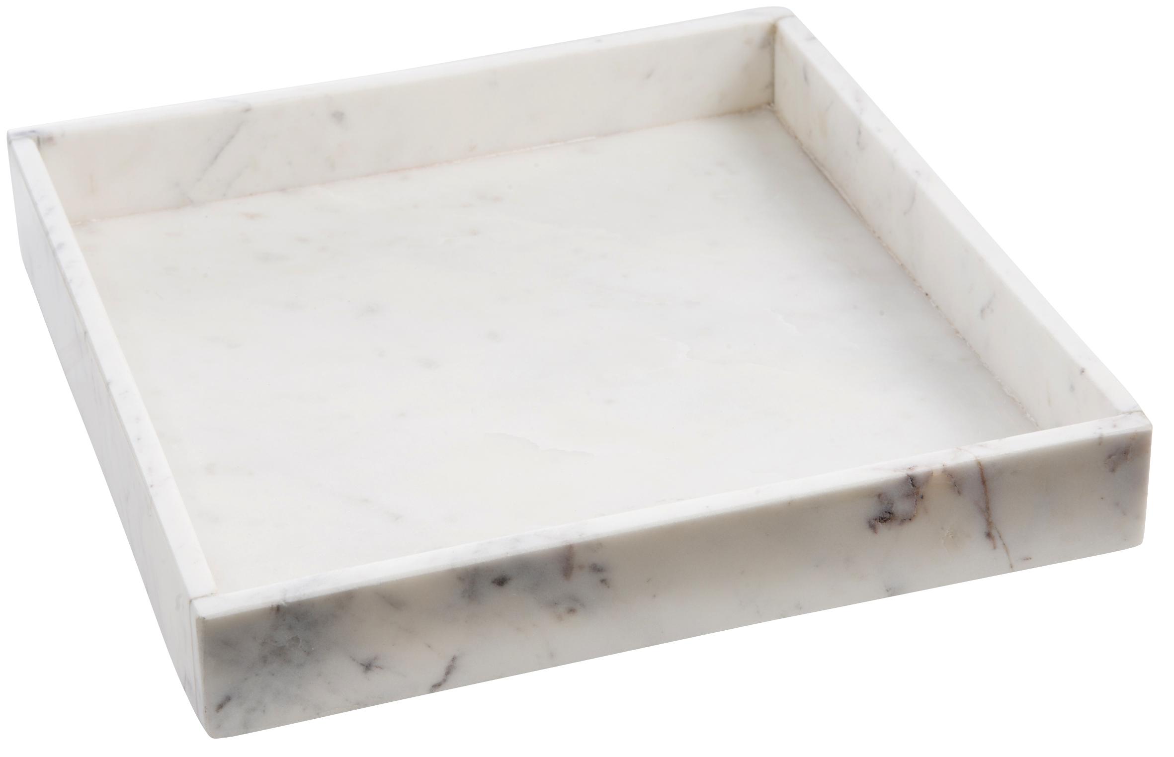 Tablett aus Marmor, weiss