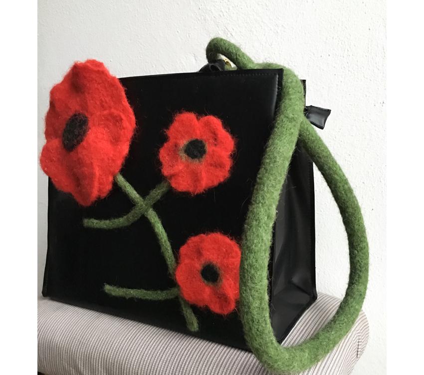 """Handtasche aus Latex, """"Mohnblumen 1/12"""